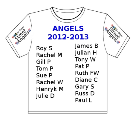 A commemmorative T-shirt that records all the people who have served as Street Angels over the past year.