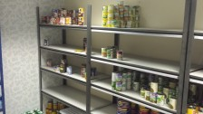 Empty meat and veg shelves